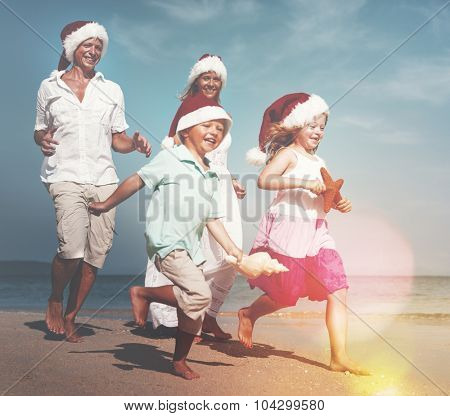 Family Beach Christmas Vacations Travel Concept