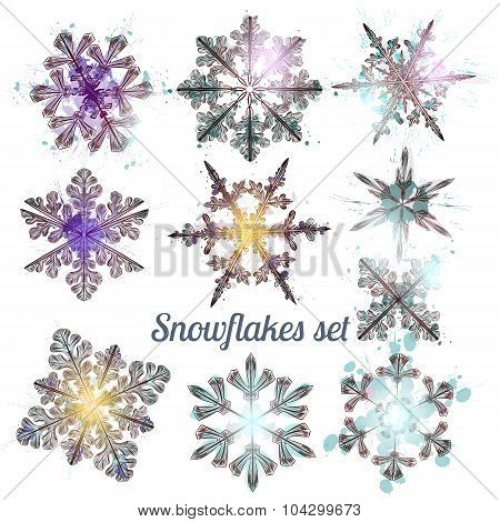 Collection  Of Vector Filigree Snowflakes For Christmas Design