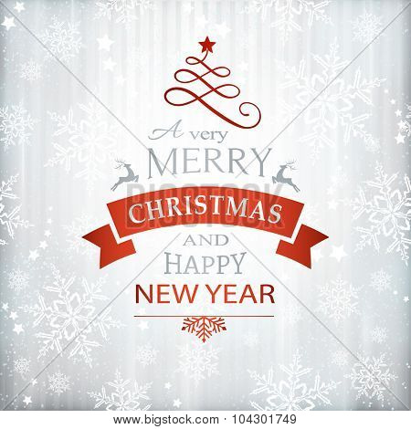 Silver textured background with snowflake pattern and faint stripes as base for the wording, Merry Christmas and Happy New Year embellished with Christmas Ornaments.