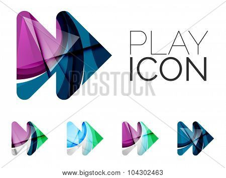 Set of abstract next play arrow icon, business logotype concepts, clean modern geometric design. Created with transparent abstract wave lines