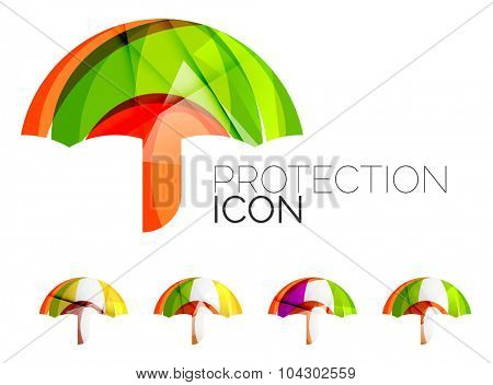 Set of abstract umbrella icons, business logotype protection concepts, clean modern geometric design. Created with transparent abstract wave lines