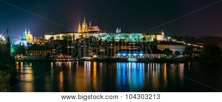 Night panoramic view of Prague cityscape, Czech Republic