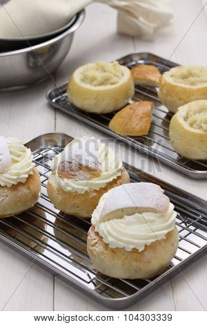 homemade semla, swedish sweet roll