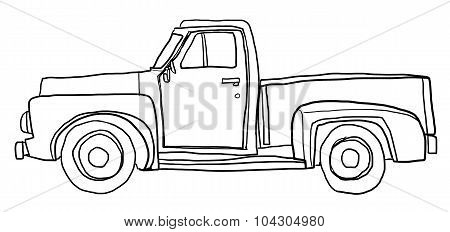 Old Orange Pickup Truck Line Art Cute Art Illustration
