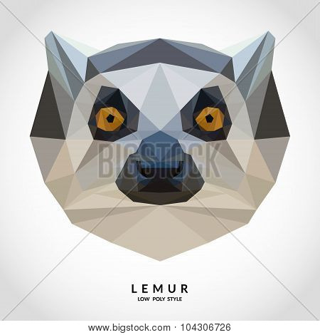 Portrait Of Lemur Low Poly Style