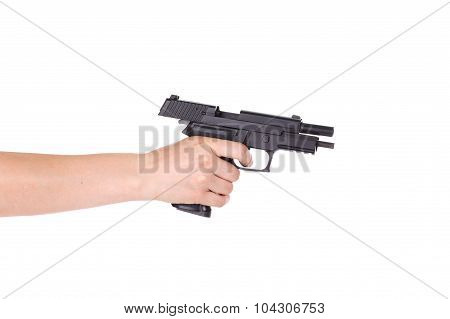 White Hand Holds Gun Isolated On White Background