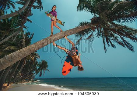 Young women with longboard and men with surfboard on coconut palm on beach.