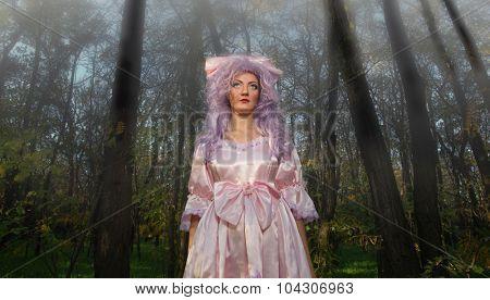 Fashion portrait of woman in purple puppet style