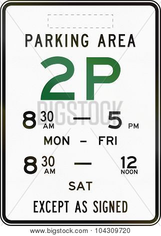 Two Hour Parking Area In Australia