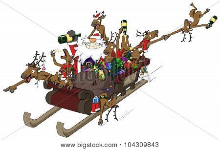 Party Christmas Cartoon, Sleigh Ride