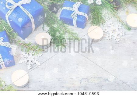 Christmas Background With Gifts, Candels And Fir Tree