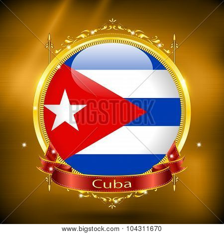 Flag Of Cuba In Gold