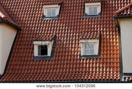 Square Windows Of Mansards In Mala Strana