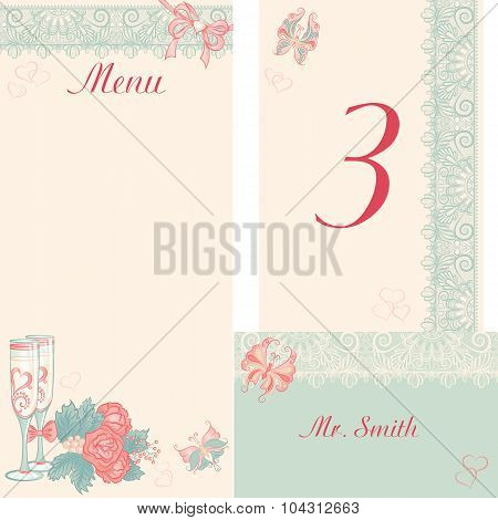 Design In The Retro-style Menu, Table Number, Banquet Cards For
