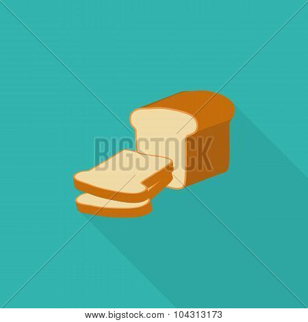 Bread With A Long Shadow In The Flat Style