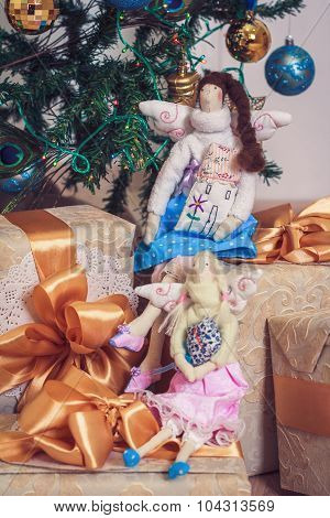 Two  Tilda Angel Girls Sitting On New Year Gifts