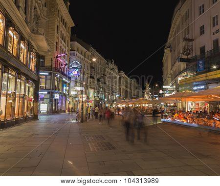 Graben Street In Vienna At Night