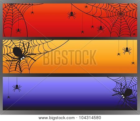 Three Vector Halloween Banners With Spider And Spiderweb