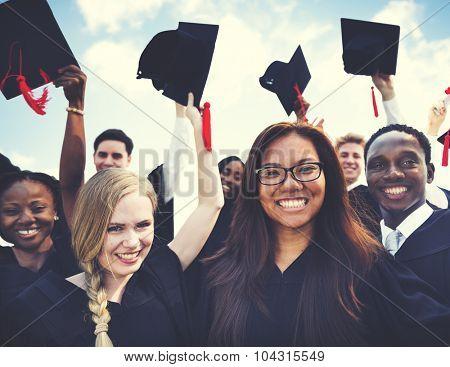 Group of Diverse Students Celebrating Graduation Concept