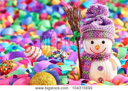 New Year 2016. Happy Snowman, Party Decoration Serpentine