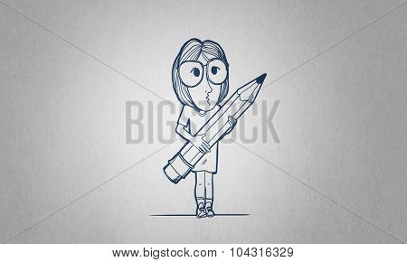 Caricature of woman with pencil in hands on white background