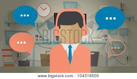 Call center operator in the office. Vector illustration in flat style. Communication concept. Man with headset. Communication bubble around operator