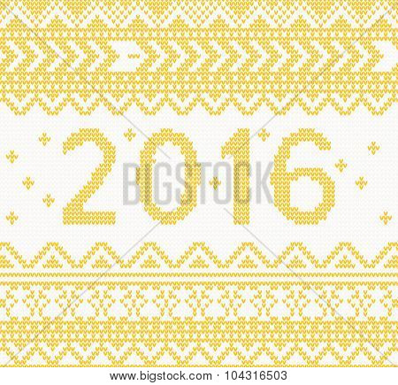 Christmas Knitted Yellow New Year 2016 card . Vector illustration. Christmas concept for banner, placard, billboard or web site. New Year retro greeting card and background