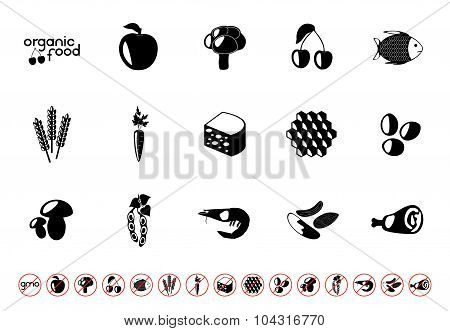Food set with black silhouettes of corn, dairy products, meat, vegetables, seafood, eggs, berry and