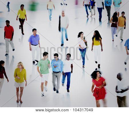 Multiethnic People Commuter Community Walking Concept