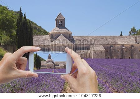 Taking  Picture Of The Senanque Abbey