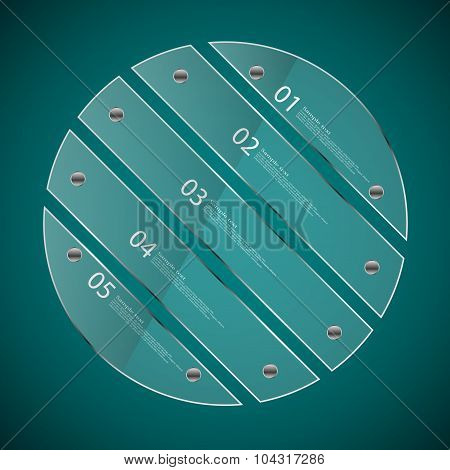 Glass Circle Divided To Five Separate Parts On Blue