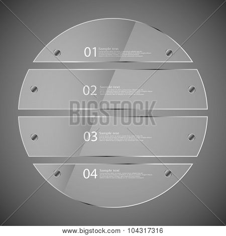 Glass Circle Divided To Four Separate Parts On Grey