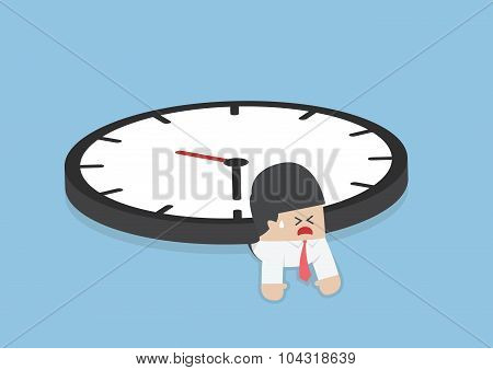 Businessman Under The Big Clock, Deadline, Overtime Concept