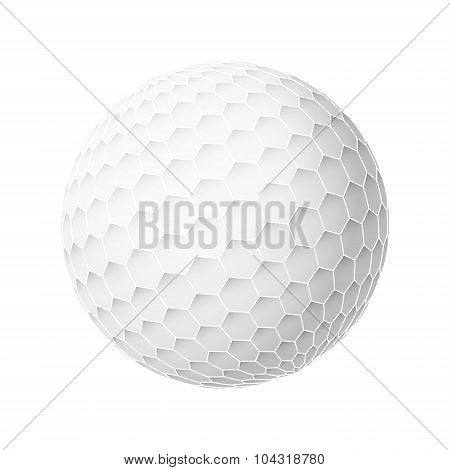 Golfball Realistic Vector. Image Of Single Golf Equipment, Ball Illustration Isolated On White Backg