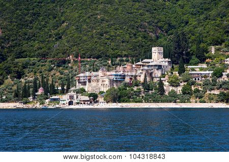 Seaview of Dochiariou monastery in Athos mount, Halkidiki , Greece