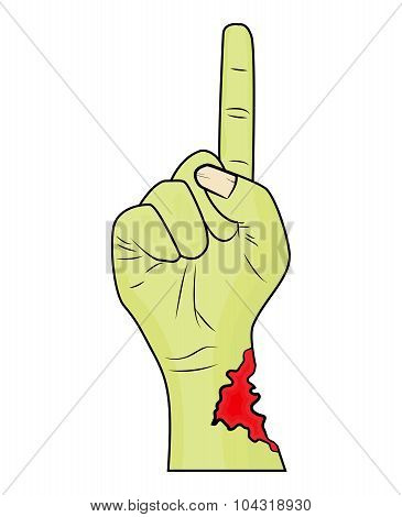 Zombie Hand Finger Up Gesture Halloween Vector - Realistic Cartoon Isolated Illustration. Image Of S