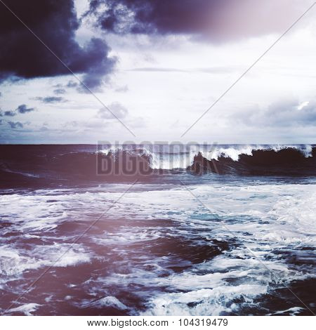 Storming Waves Seascape Natural Disaster Concept