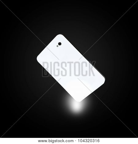 Human hand pointing at mobile phone with finger