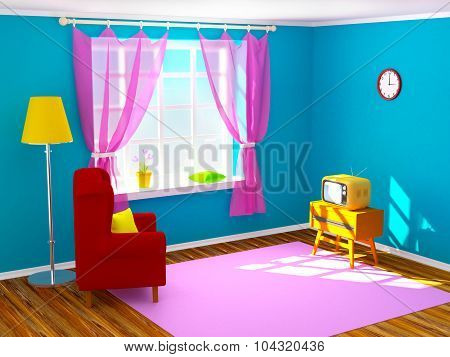 Vintage Room With Tv
