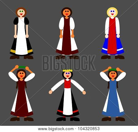 Small set of simple folkloric girl characters