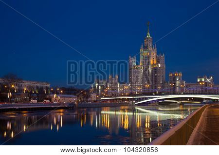 One Of Seven Stalin Skyscrapers: The High-rise Building On Kotelnicheskaya Embankment In Night Illum