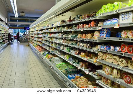 BORDEAUX, FRANCE - AUGUST 13, 2015: Simply Market interior. Simply Market is a brand of French supermarkets formed in 2005. This brand is a new concept to eventually replace Atac supermarkets