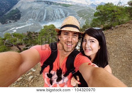 Beautiful young couple fun on selfie