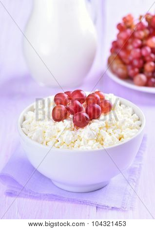 Curd Decorated With Grapes