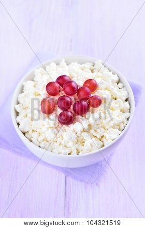 Curd Cheese Decorated With Grapes