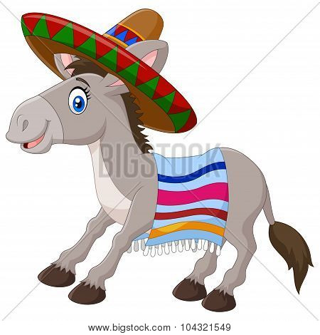 Mexican donkey wearing a sombrero and a colorful blanket. isolated on white background