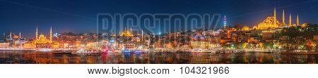 Panorama os Istanbul and Bosporus at night