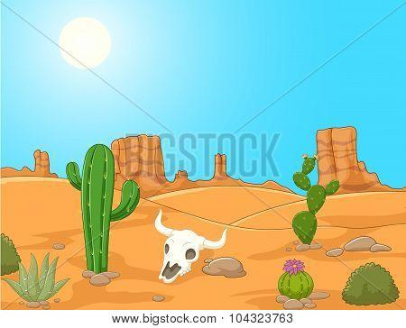 Cartoon desert landscape, wild west illustration