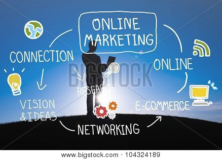 Online Marketing Digital Networking Strategy Vision Concept
