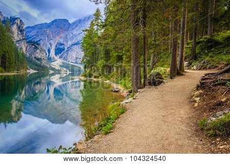 Braies Lake in Dolomites mountains, Sudtirol, Italy